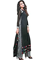 Exotic India Black And White Long Kameez Suit With Parallel Salwar - Black