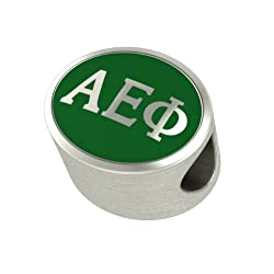 Alpha Epsilon Phi Enamel Sorority Bead Charm Fits Most European Style Bracelets. High Quality Exclusive Bead in Stock for Fast Shipping