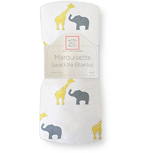 SwaddleDesigns Marquisette Swaddling Blanket, Safari Fun, Yellow