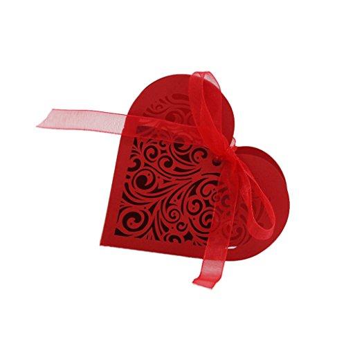 20pcs Coeur Boîte de Bonbons Bonbonnière Boîte de Cadeau Mariage - Rouge