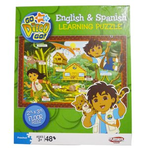 Picture of Fun Playskool Go Diego Go! 2 Foot By 3 Foot Floor Puzzle - English & Spanish Learning 48 Piece Puzzle (B001DYUYEY) (Floor Puzzles)