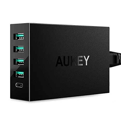AUKEY-Quick-Charge-30-USB-C-Cargador-de-Pared-5-Puertos-4-Puertos-USB-1-Puerto-Type-C-Quick-Charge-30-para-iPhone-HTC-Motorola-LG-Xiaomi-1m-C-a-C-Cable-Negro