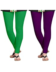 Aannie Women's Cotton Slim Fit Leggings Combo Pack Of 2(Grass Green,Imperial Purple)