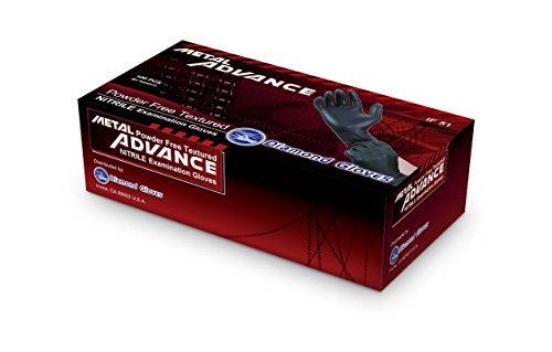Diamond Gloves Advance Powder-Free Soft Nitrile Industrial Gloves, Black, Large, 100 Count (Free Advance compare prices)