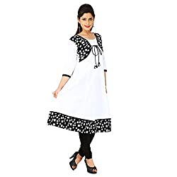 AnjuShree Choice Women's White Cotton Printed Jacket Stitched Anarkali Kurta Kurti