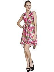 Meiro High Quality Women's printed Dress with C cut hem (15139_pink_Medium) , designed in New York