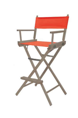 Telescope Casual Heritage Bar Height Director Chair, Rustic Grey Finish With Orange Canvas Fabric