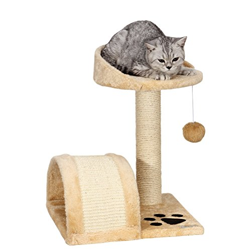 Ollieroo® Small Cat Tree Sisal Scratching Post Furniture Playhouse Pet Bed Kitten Toy Cat Tower Condo for Kittens Beige