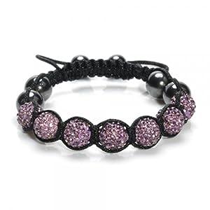 Bracelet shamballa pavé de boules disco avec un excellent rapport qualité/prix par KurtzyTM 14 couleurs à partir desquelles choisir - Violet