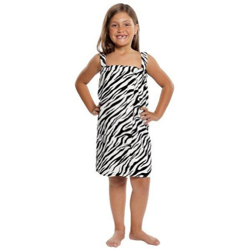 Spa Bath Wrap Terry Cotton Kids Cover Up Made In Usa Zebra Pattern,Small back-977540