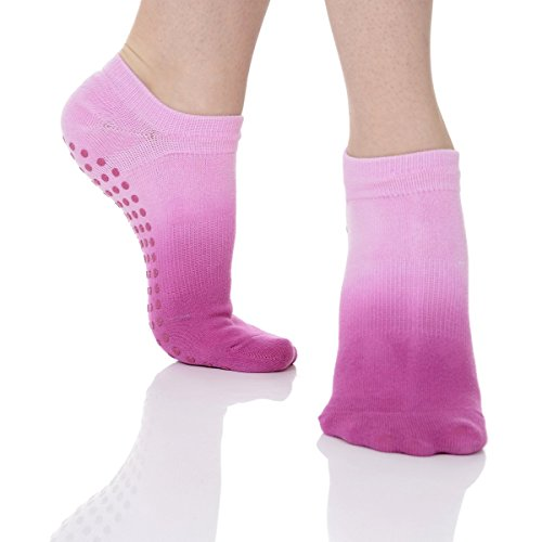Great Soles Women's Ombre Dyed Grip Socks for Pilates, Yoga, and Barre (Orchid)