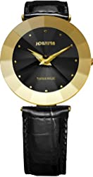 Jowissa Women's J5.119.XL Pyramid Gold PVD Stainless Steel Black Leather Band Watch