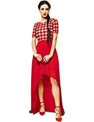 Whatshop Red Hot Designer Heavy Embroiderd Stylish Kurti