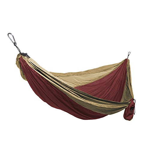 Grand Trunk Single Parachute Nylon Hammock (Crimson/Khaki)