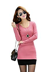 Fashion Scoop Neck Cable Knit Long Sweater - Small/Medium - Pink