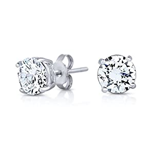 Rhodium Plated 925 Sterling Silver Simulated Diamond Cubic Zirconia Round Basket Prong Set Stud Earrings-6mm