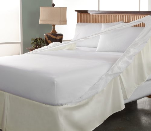 Tailor Fit Easy On Easy Off Bedskirt And Box Spring Protector, California King, Khaki front-1029097