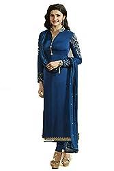 FashionKhoj elite blue colour Party wear embroidered georgette suit