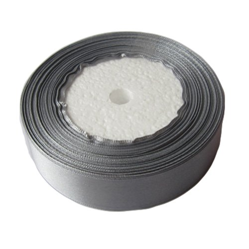 OurWarm Grey 1″ Inch 25mm Wide Satin Ribbon 25Yard Birthday Party/Craft/Wedding Favors Bow Scrapbooking Decor (75FT)
