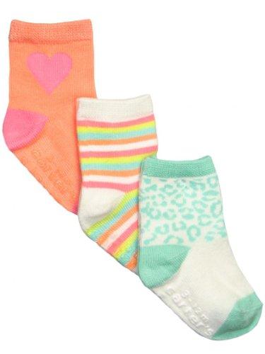 Carter'S Little Girls' 3-Pack Cheetah Socks, White/Turquoise/Yellow/Tangerine/Pink/Light Green, 2-4 Years front-189317