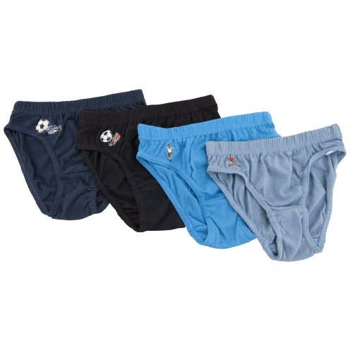 Childrens/Kids Boys 100% Cotton Briefs Football Pattern Underwear (Pack of 4) (5-6 Years) (Black/Blue/Navy)
