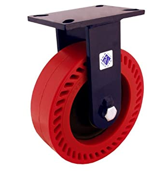 "RWM Casters 76 Series Plate Caster, Rigid, Kingpinless, Phenolic Wheel, Roller Bearing, 2500 lbs Capacity, 8"" Wheel Dia, 3"" Wheel Width, 10-1/2"" Mount Height, 7-1/4"" Plate Length, 5-1/4"" Plate Width"
