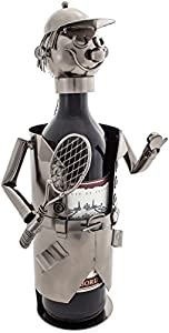 "BRUBAKER Wine Bottle Holder ""Tennis Player"" Metal Sculpture Gift - With Greeting Card"