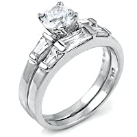 Sterling Silver Cubic Zirconia CZ Wedding Engagement Ring Set Sz 9
