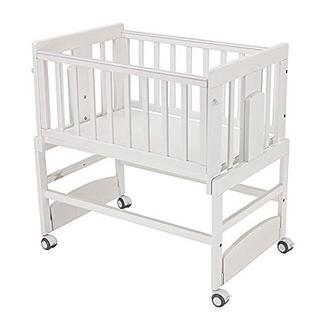 BOLIN BOLON, Culla in legno per bebè, 85 x 53 x 80/104 cm, Bianco (Blanc)