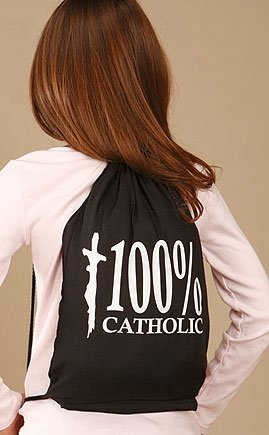 Youth 100% Catholic w Christ on Cross Drawstring School Church Backpack Tote Bag