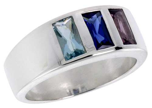 Sterling Silver Multi Colored Emerald Cut Cz Ring (Available In Sizes 6 To 10) Size 8