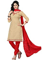 Charismatic Beige & Red Coloured Embroidered Dress Material