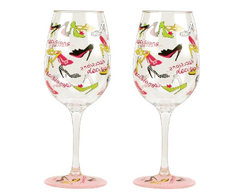 Lolita Love My Party Stiletto 16-Ounce Acrylic Wine Glasses, Set of 2