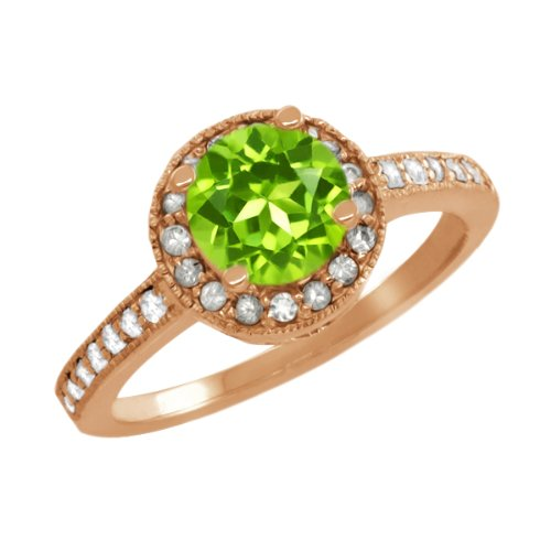 1.20 Ct Round Green Peridot White Sapphire Rose Gold Plated Sterling Silver Ring