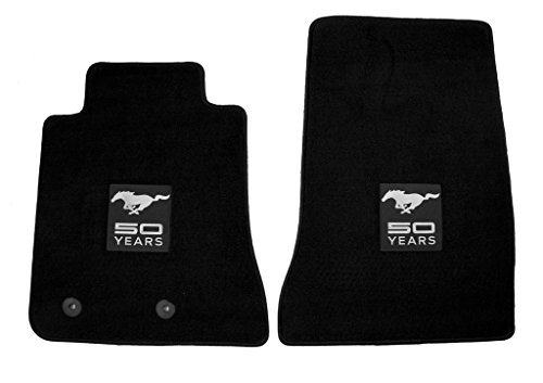 2015 Ford Mustang Front 2pc Floor Mat Set Black Ebony w/ Silver 50th Anniversary & Horse Logo Embroidery