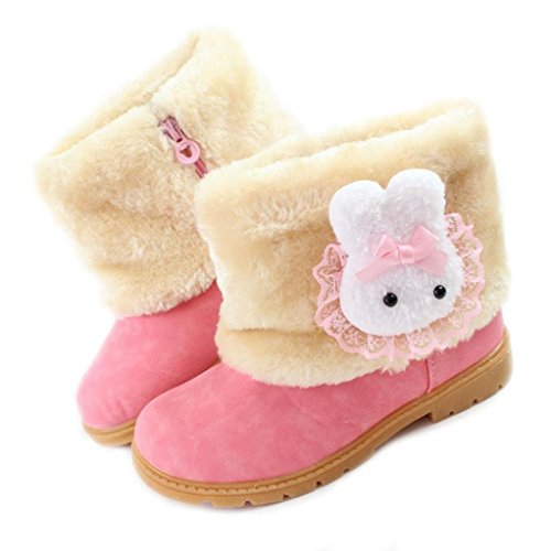 Femizee Baby Girls Infant Toddler Winter Fur Shoes Rabbit Snow Boots Booties,Pink,7 M US Toddler