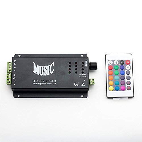 Dumvoin 12V-24V 9A 24 Keys Ir Music Controller Sound Activated Controller 2 Ports Output For Color 5050 3528 5630 Led Strip Changing Led Strips With Remote Control -Color:Black