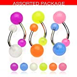 Belly Bars - Pierced & Modified Body Jewellery - Value Pack of 6 Glow In The Dark Navel Bars