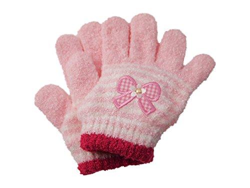 お花リボンワッペン付き 子供のびのび手袋 【CH-4812】 ピンク