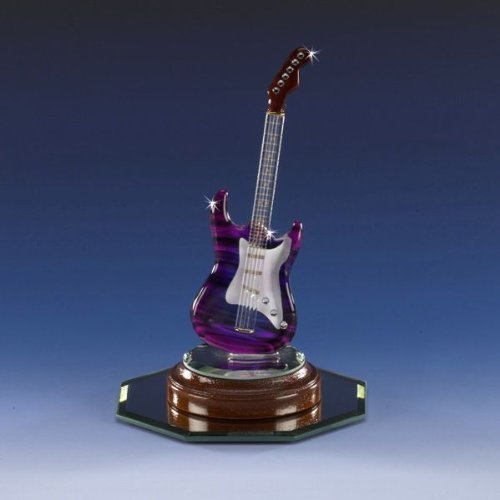 Collectible Miniature Purple Electric Rock Guitar Swarovski Crystal Hand Crafted Cherry 22K