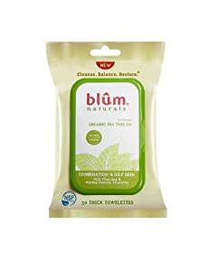 Blum Naturals Daily Combination/Oily Skin Towelettes, Tea Tree Oil, 30 Count