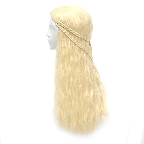 [New Cosplay Daenerys Targaryen Long Loose Curly Light Gold Weave Anime Women Wig] (Daenerys Targaryen Costume Hair)