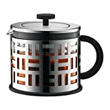 Bodum Eileen - Modern Tea Press - Allows Tea Leaves to Move Freely While Brewing - Glass - 1.5l - Silver (Color: Silver, Tamaño: 1.5l, 51oz)