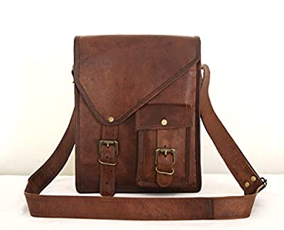11 x 9 inch Handmade genuine vintage leather ipad/tablet/tab/kindle satchel crossbody shoulder messenger bag