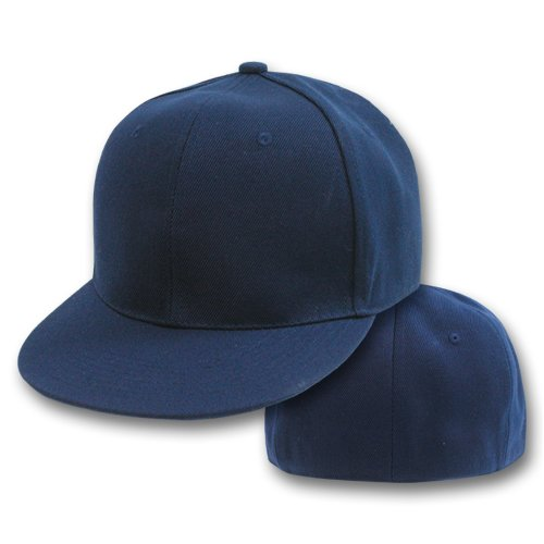 plain fitted flat bill hat navy womens hats