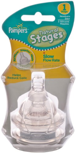 Pampers Silicone Airwave Aspirational Nipples, Stage 1, Double Pack, Clear - 1