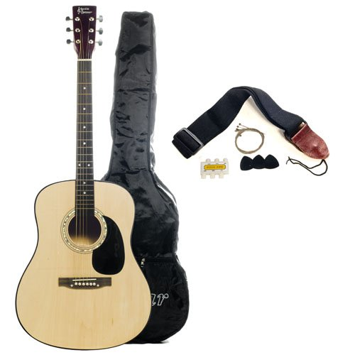 Full Size Acoustic Guitar with Free Carrying Bag - Natural