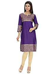 Tanvi Purple Cotton Straight Kurti For Women