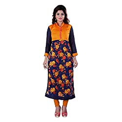 Fashion Galleria orange rose printed cotton kurti