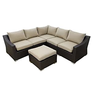 WE Furniture 6-Piece Rattan Sectional Patio Sofa Set by Walker Edison - Lawn & Garden